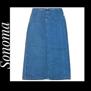 Sonoma Woman's Denim Jeans Maxi-Skirt Size 8